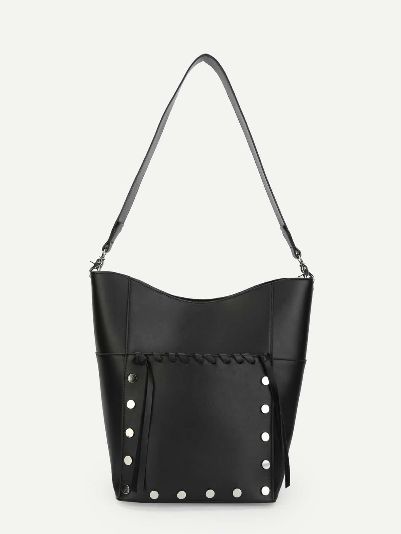 Купить Шипованный Наплечные сумки чёрный Сумки, null, SheIn