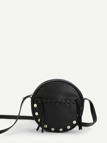 Stitch Detail Round Crossbody Bag