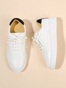 Round Toe Lace Up PU Sneakers