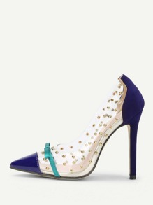 Bow Detail Pointed Toe Pumps With Studded