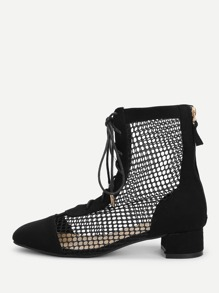 Mesh Detail Lace Up Boots