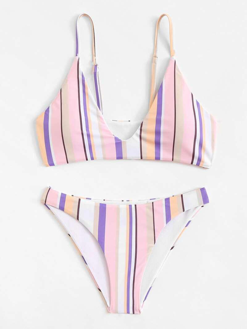 Striped Bikini Set, Multicolor