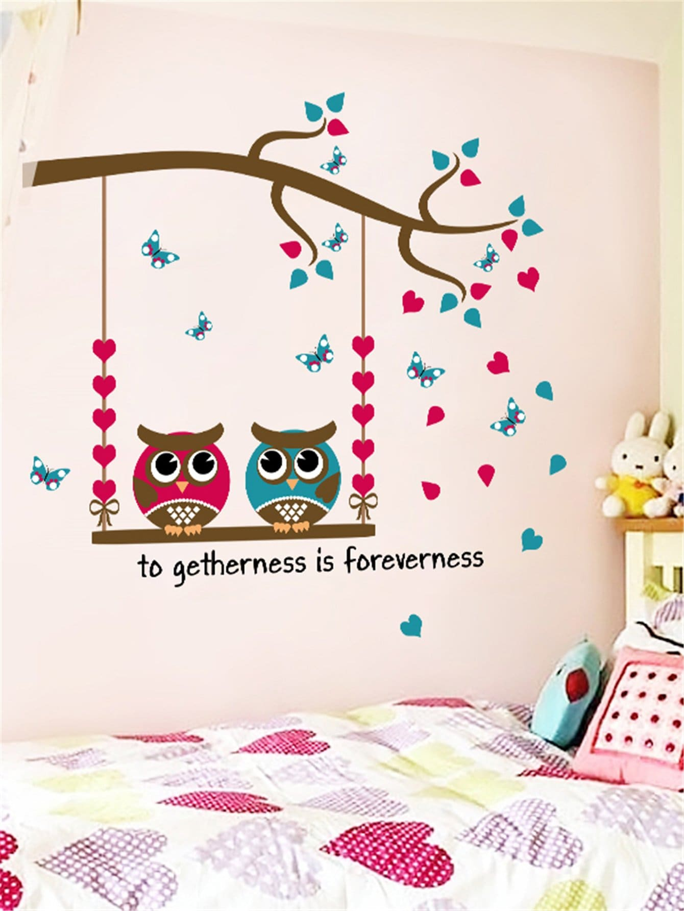 Double Owl Wall Decal family wall quote removable wall stickers home decal art mural