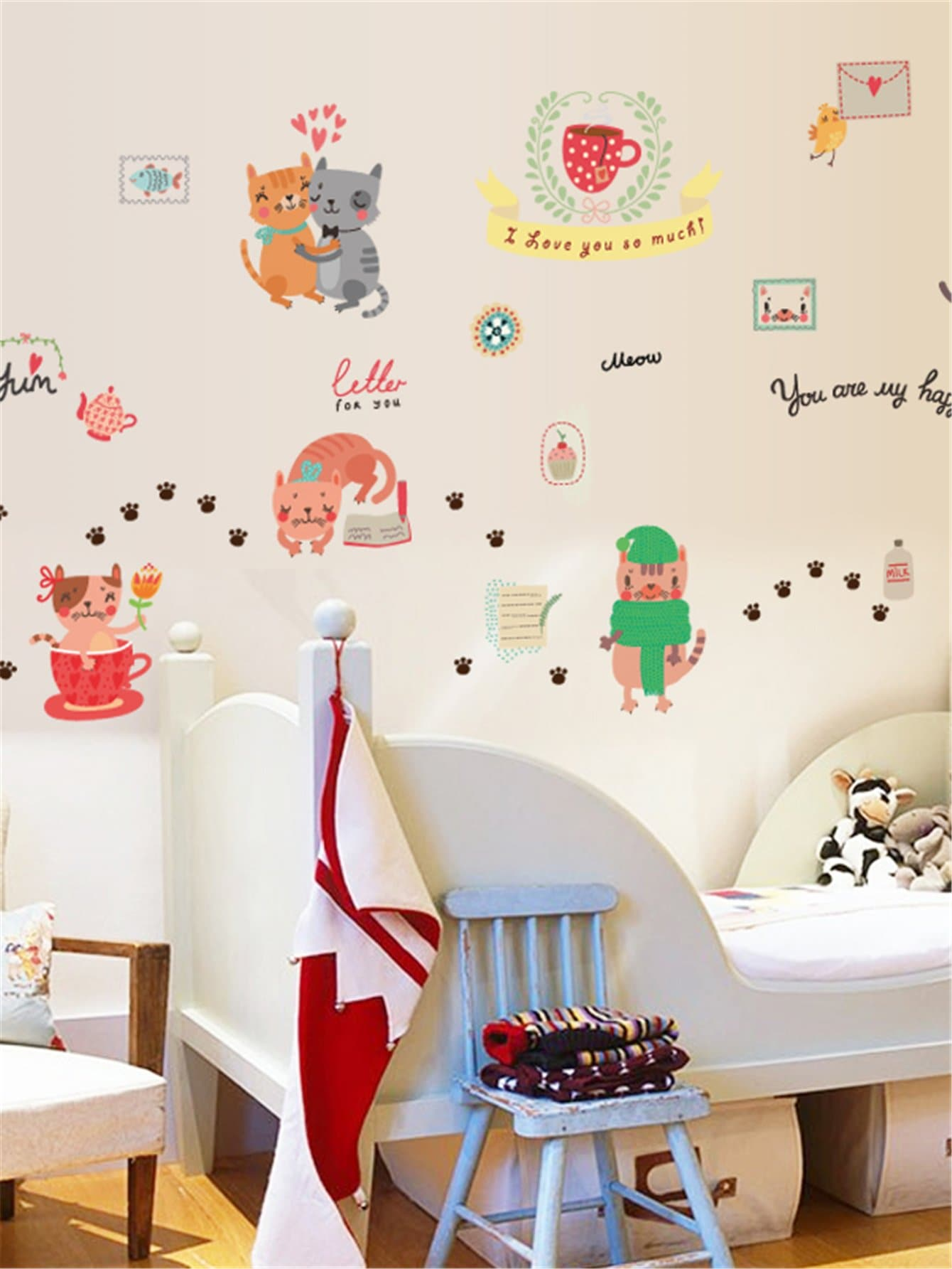Cat Pattern Wall Decal family wall quote removable wall stickers home decal art mural