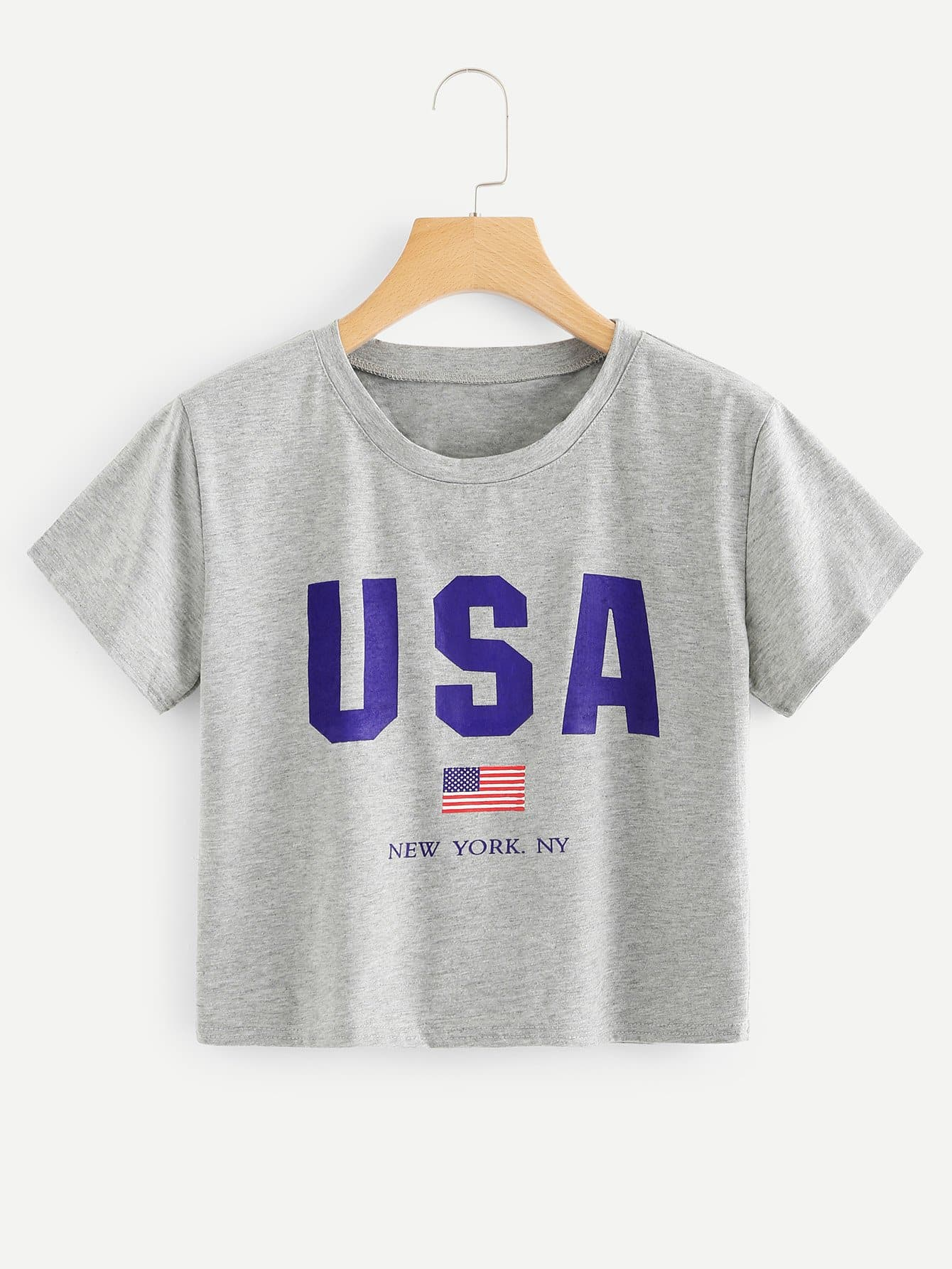 American Flag Print Crop Tee
