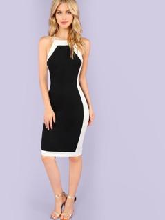 Color Block Mock Neck Sheath Dress