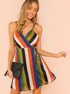 Stripe Mini Wrap Dress