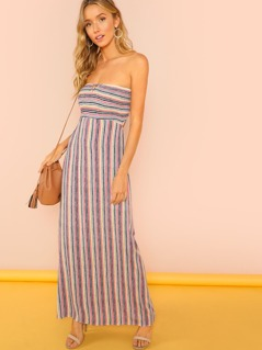 Stripe Smocked Maxi Dress