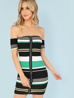 Off Shoulder Zip Front Stripe Dress