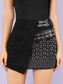 Mini Skirt with Grommet Rings