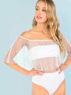 Beaded Mesh Off Shoulder Bodysuit