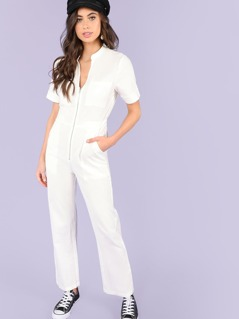 Zip Front Wide Leg Jumpsuit with Pockets