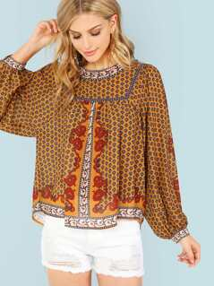 Piece Print Bishop Sleeve Blouse