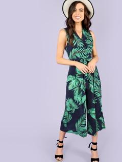 Palm Print Tie Waist Surplice Jumpsuit