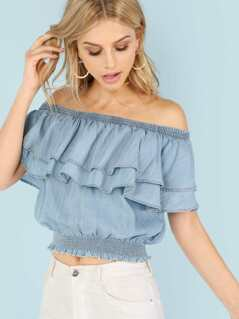 Layered Ruffle Off Shoulder Top