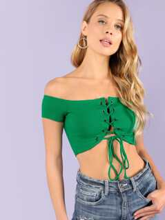 Ribbed Knit Lace Up Off Shoulder Top