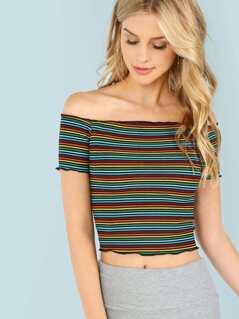 Stripe Frilled Hem Off Shoulder Top
