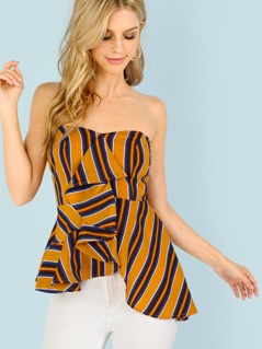 Asymmetrical Ruffle Tube Top