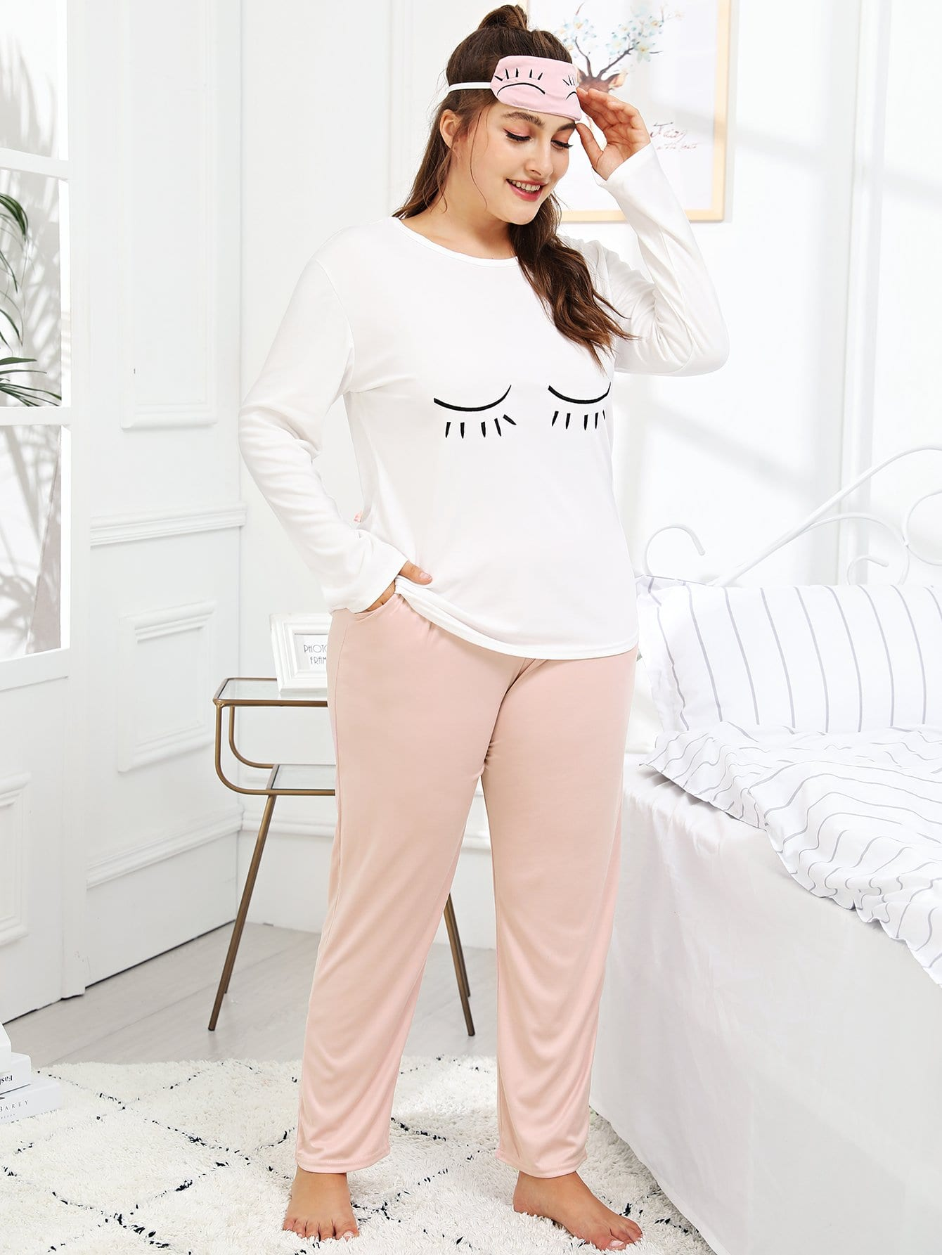 Фото - Plus Eye Print Pajama Set With Eye Mask ruffle hem solid pajama set with eye mask