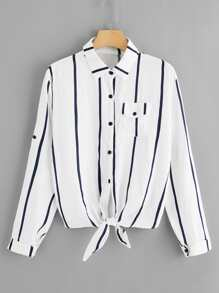 Single Breasted Striped Blouse