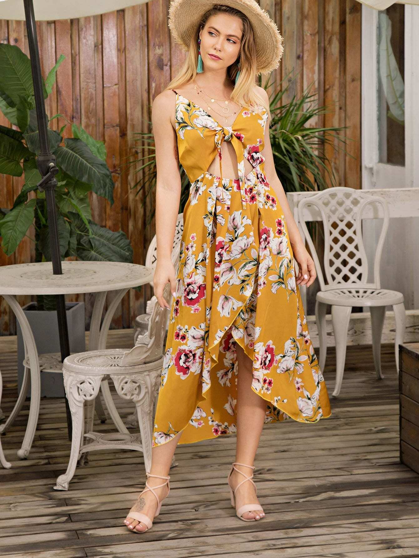 Floral Print Knot Front Cut Out Asymmetrical Hem Dress бур почвенный fubag g1 200 800 838280