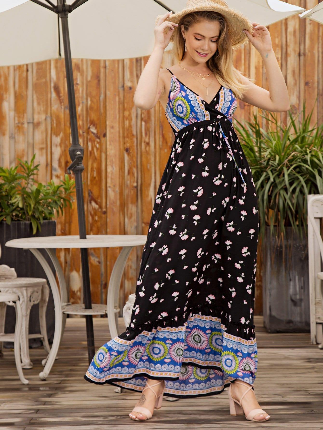 Купить Ситцевое платье с басоном эластичным и подол с складками, null, SheIn