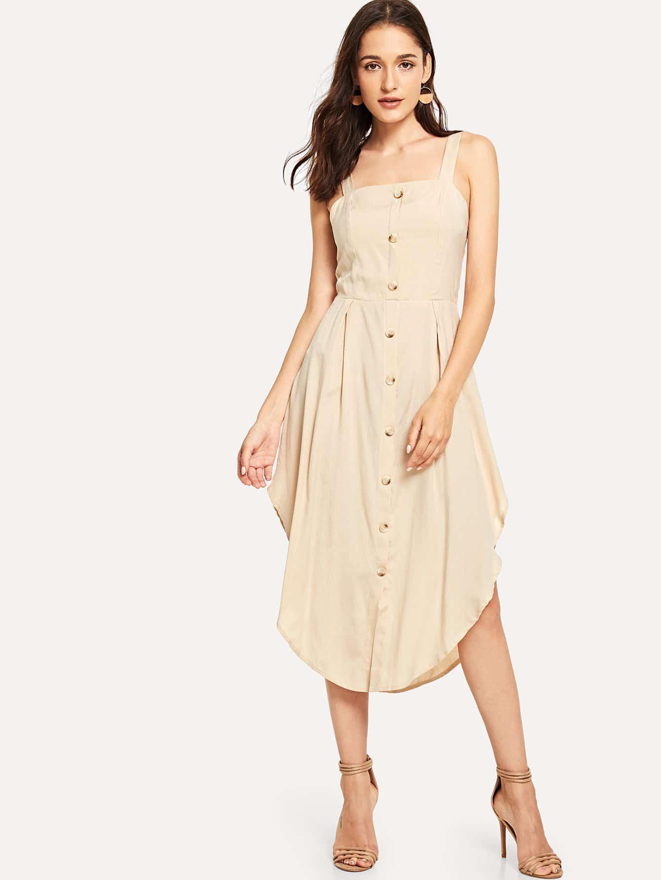 Купить Однобортное платье на бретелях и дугообразный подол, Kristina, SheIn