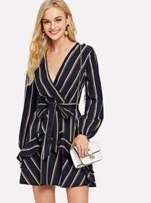 Ruffle Trim Self Tie Waist Striped Dress