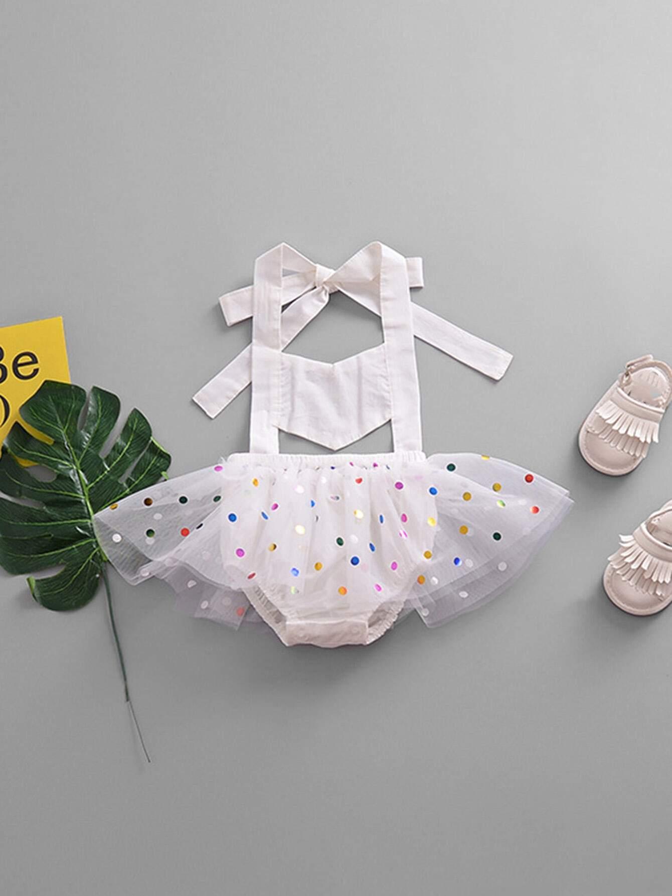 Girls Mesh Overlay Sequin Halter Romper sequin overlay triangle design necklace