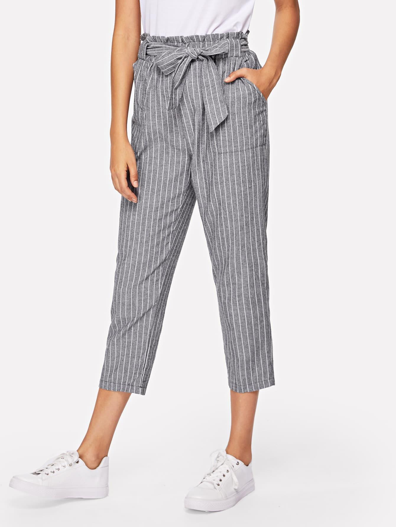 Frill Trim Striped Self Tie Waist Pants frill trim bow tie front pants