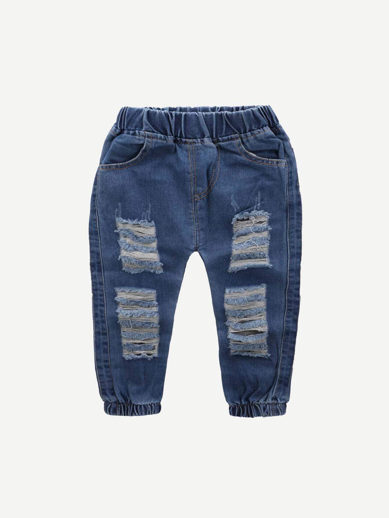 Boys Plain Destroyed Jeans цена 2017