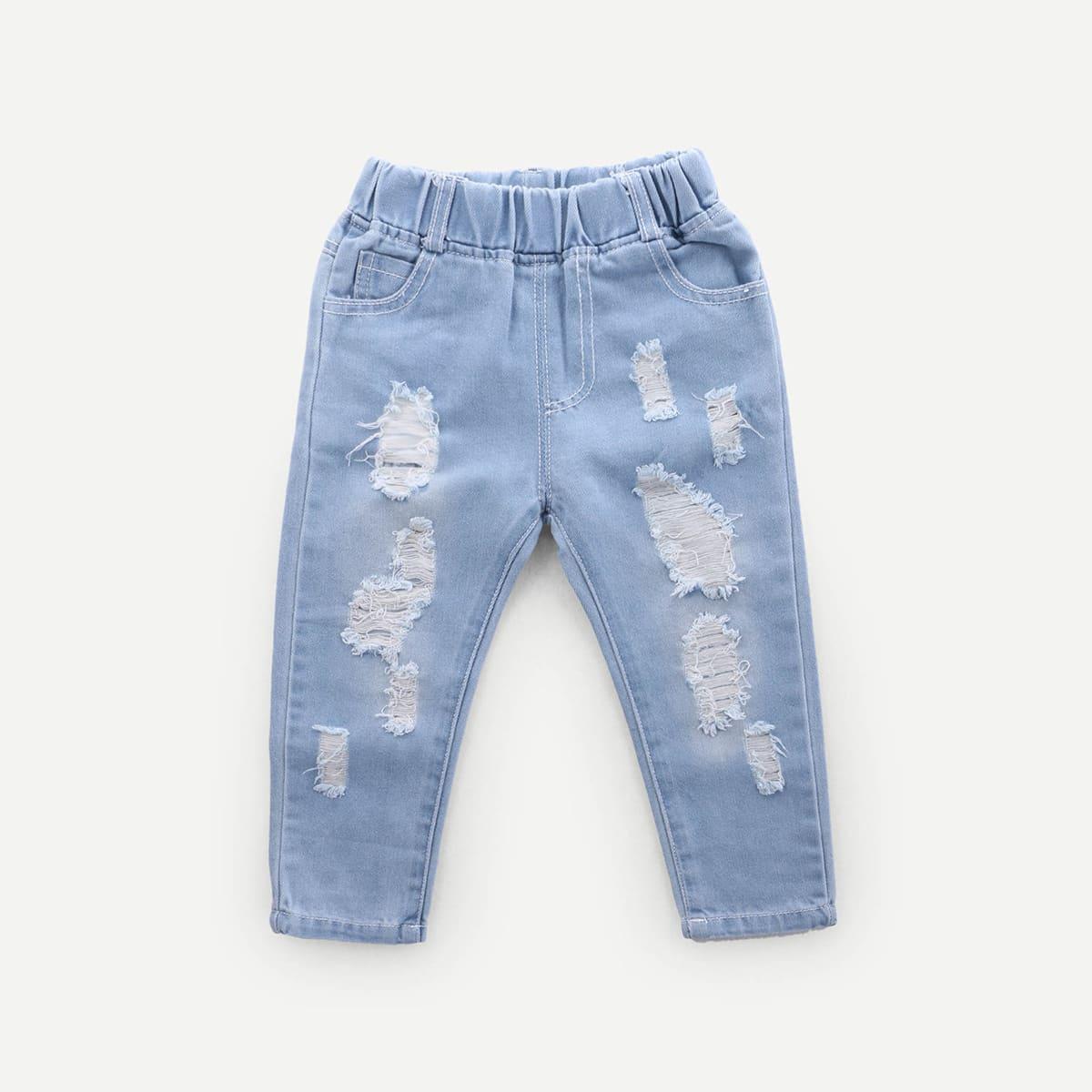 Blauw Casual Vlak Kleutermeisje jeans Gescheurd