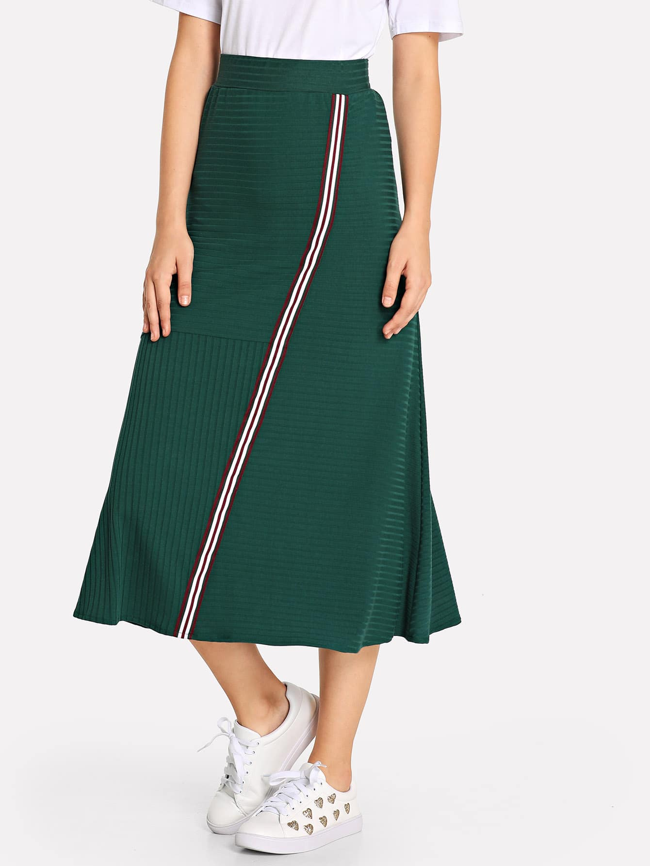 Купить Плоская полосатая юбка, Teresa, SheIn