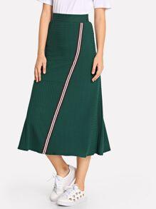 Striped Ribbed Skirt