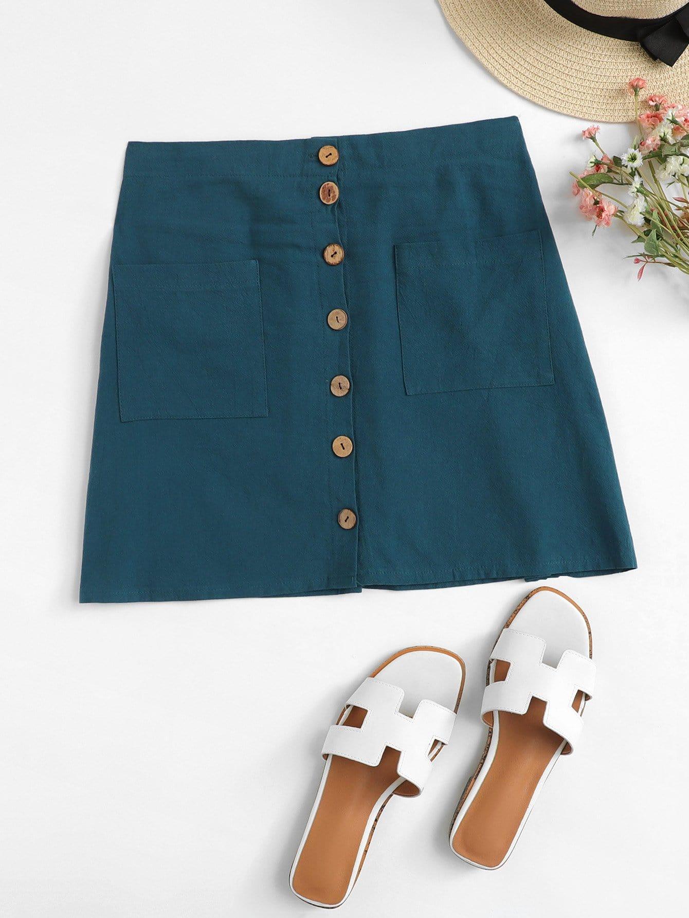 Купить Однобортная юбка с украшением двух кармана, null, SheIn