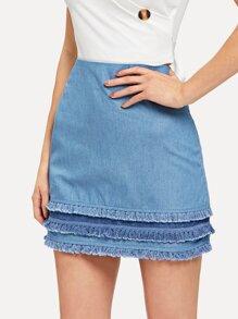 Fringe Hem Tiered Skirt