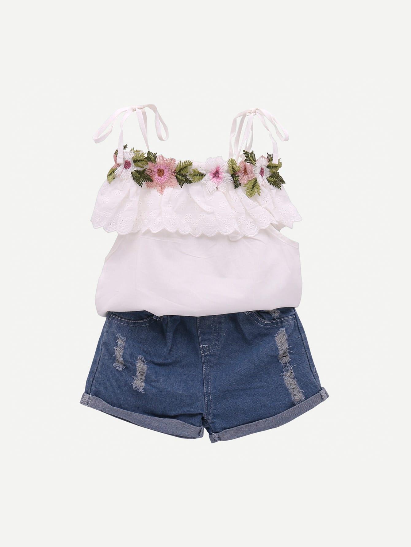 Купить Жилет с кружевными оборками и рваные джинсовые шорты для девочки, null, SheIn