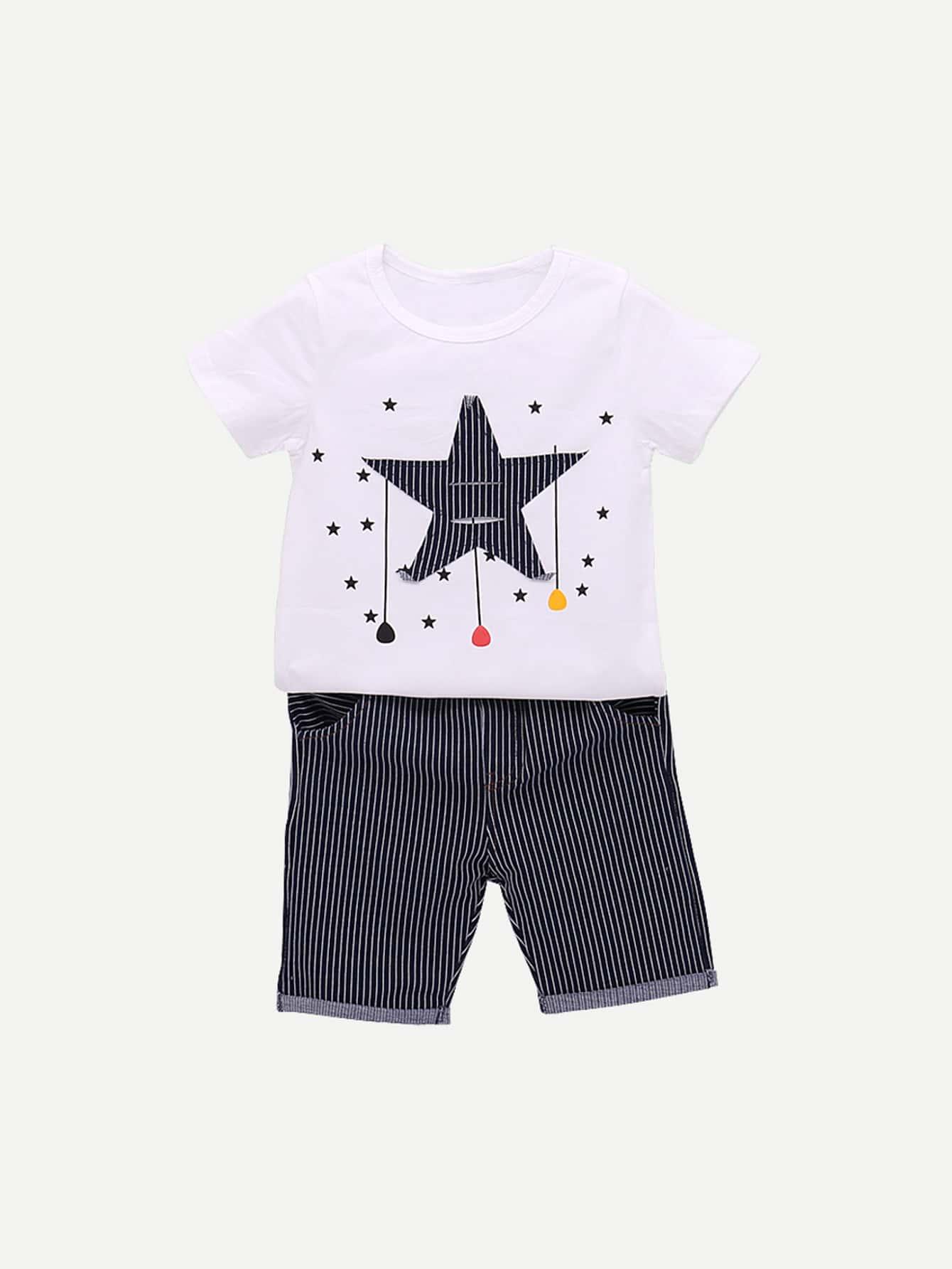 Купить Футболка с рисунками звезд и полосатые шорты и рольный подол для мадьчика, null, SheIn