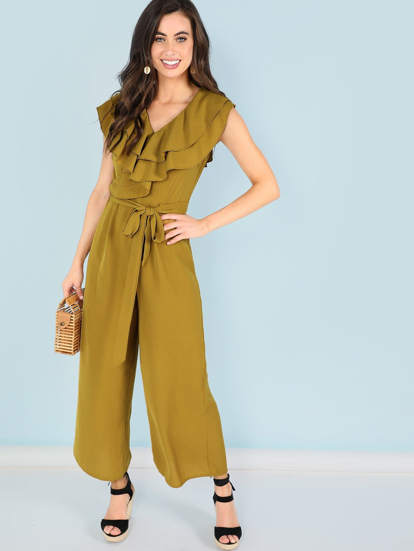 Tiered Layer Ruffle Belted Jumpsuits laq mirror metallics лак для ногтей тон 10180 15 мл