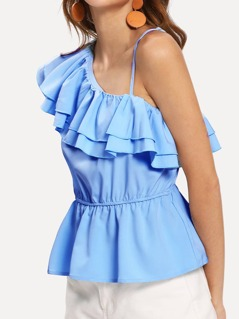 Layered Ruffle One Shoulder Top