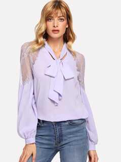 Tie Neck Lace Shoulder Lantern Sleeve Blouse
