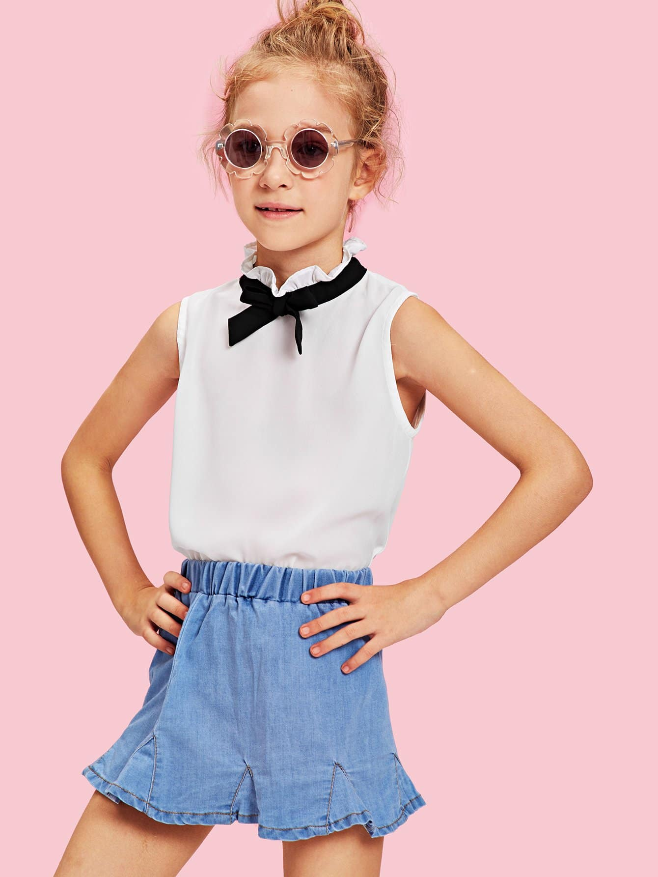 Girls Tie Neck Ruffle Trim Sleeveless Blouse jacob delafon ola 60 exs112 00