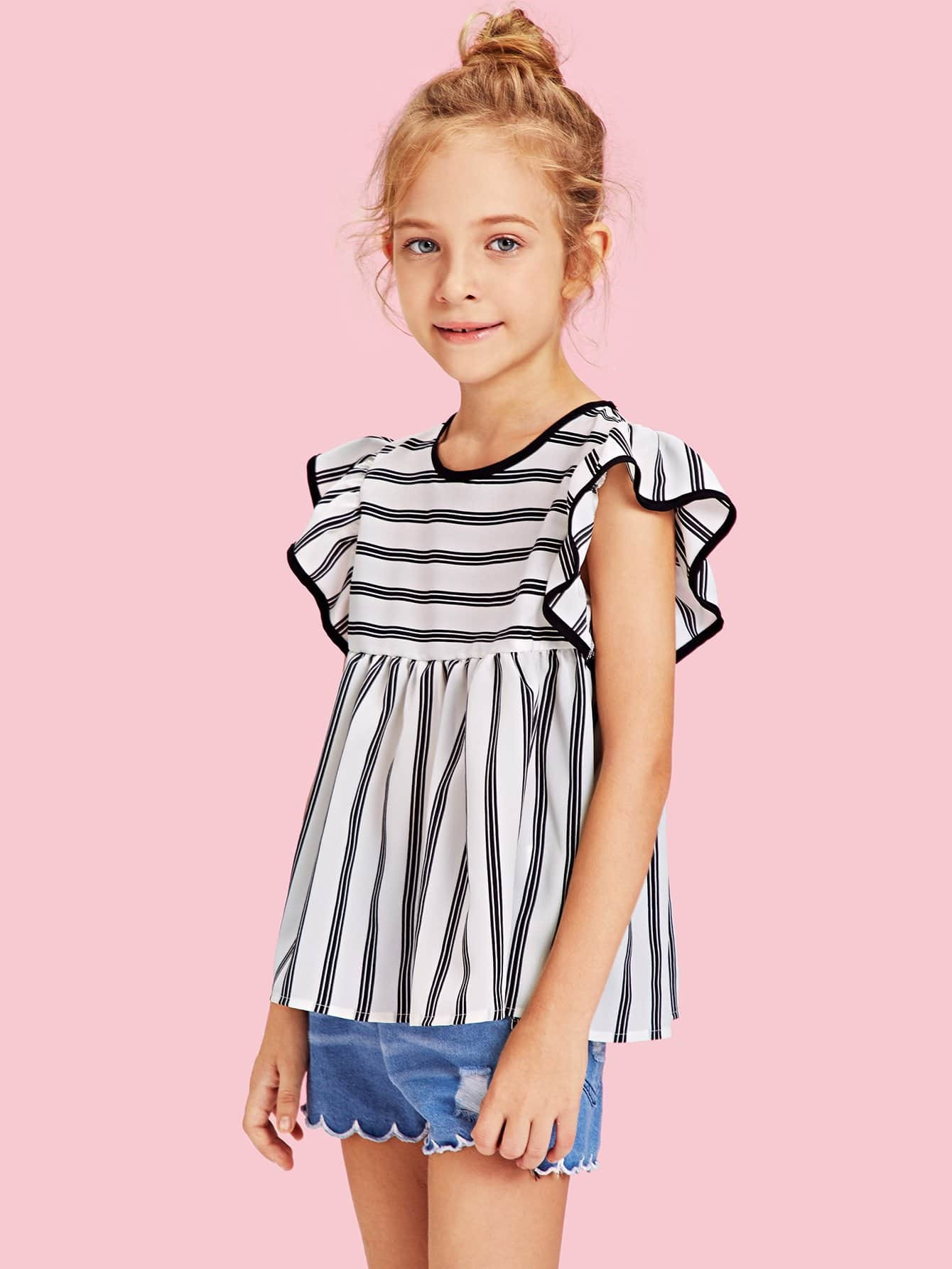 Ruffle Sleeve Tie Neck Striped Top