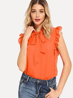 Tie Neck Ruffle Armhole Sleeveless Blouse