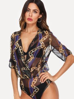 Chain Print See Through Wrap Bodysuit