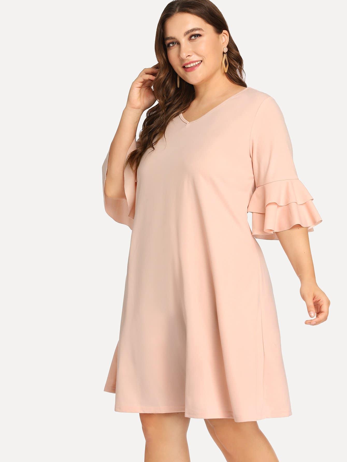 Купить Платье однотонное с широкими рукавами, Franziska, SheIn