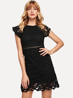 Cut Out Detail Guipure Lace Dress