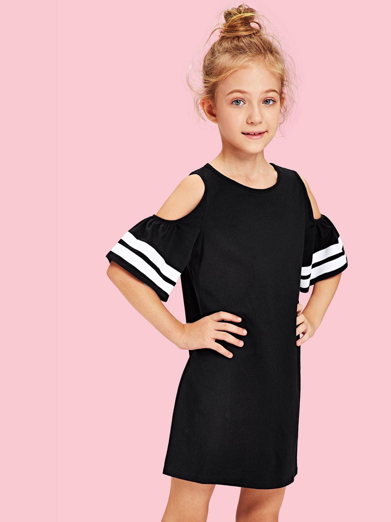 Купить Платье с полосками и открытыми плечами, null, SheIn