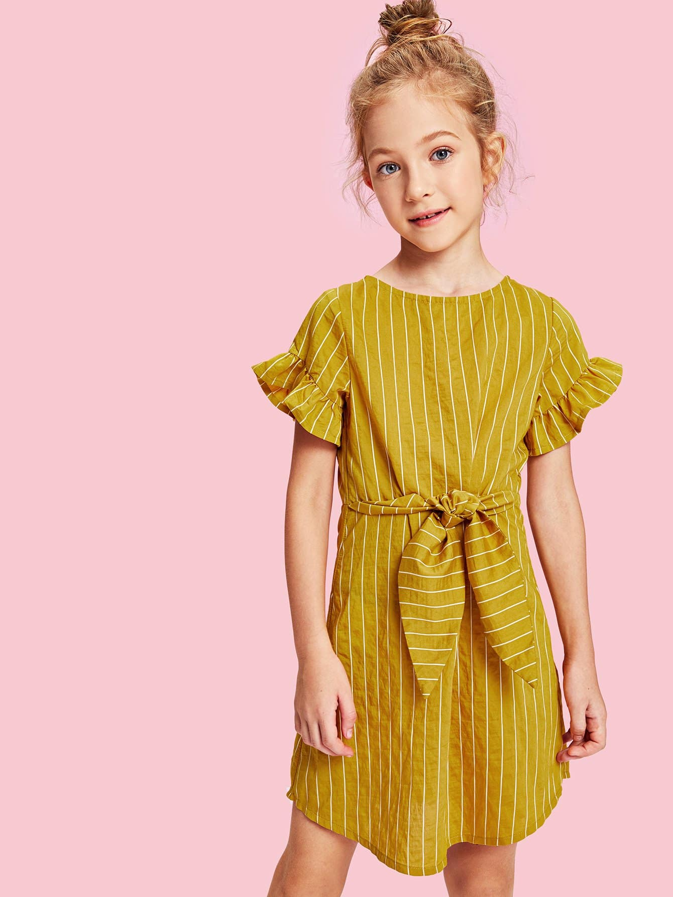 Girls Ruffle Sleeve Belted Striped Dress mbs f 010