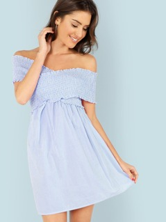 Cross Wrap Smocked Vertical Striped Bardot Dress